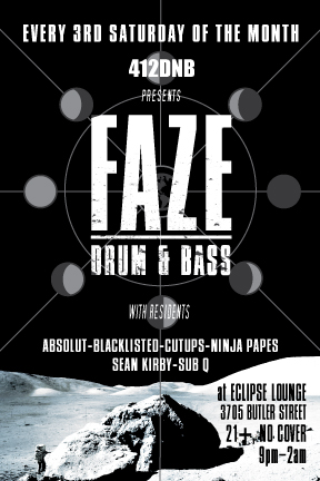 Sat Jan 17th FAZE a new night from 412DNB w/ JTS, Cutups, Absolut @ Eclipse