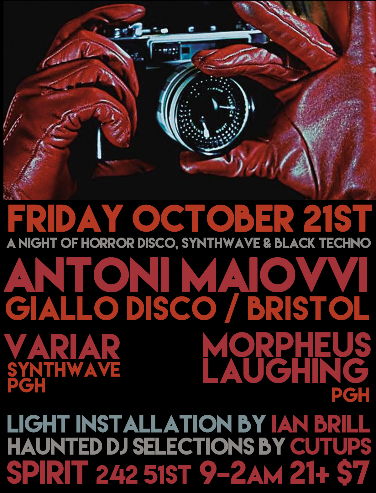 Fri Oct 21st ANTONI MAOIVVI [Giallo Disco, Bristol], Variar, Morpheus Laughing, Cutups at Spirit